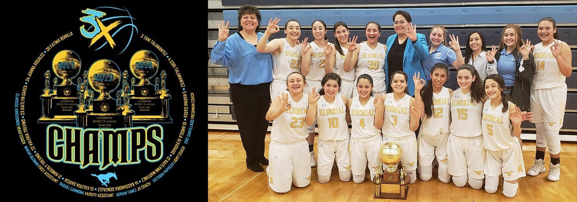champs seal and picture of ladies basketball team with trophy