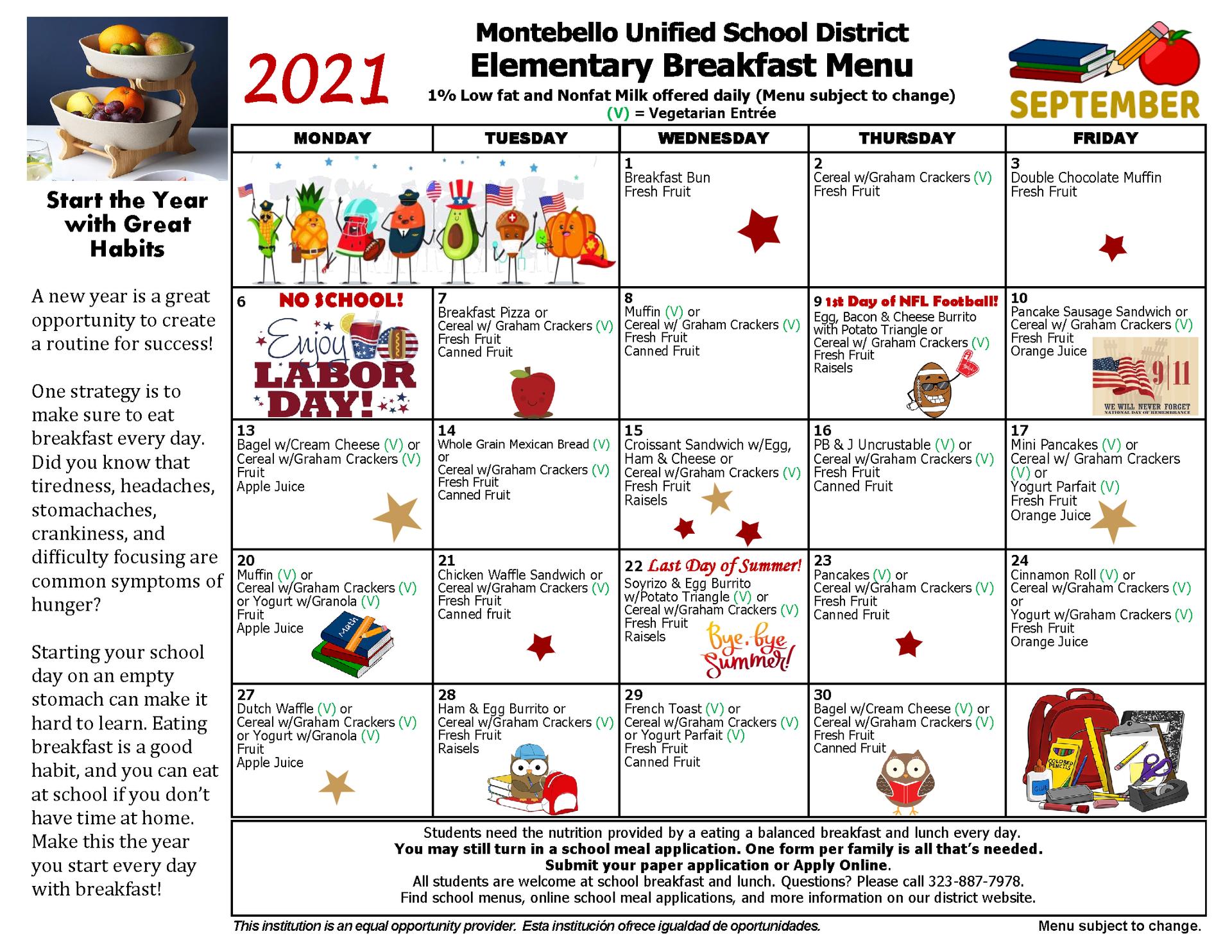 Elementary Breakfast Menu September 2021