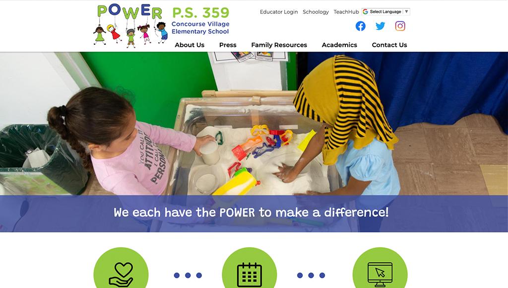 website for Concourse Village Elementary School