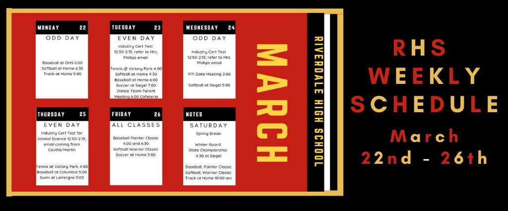 Weekly Schedule 3-22-21