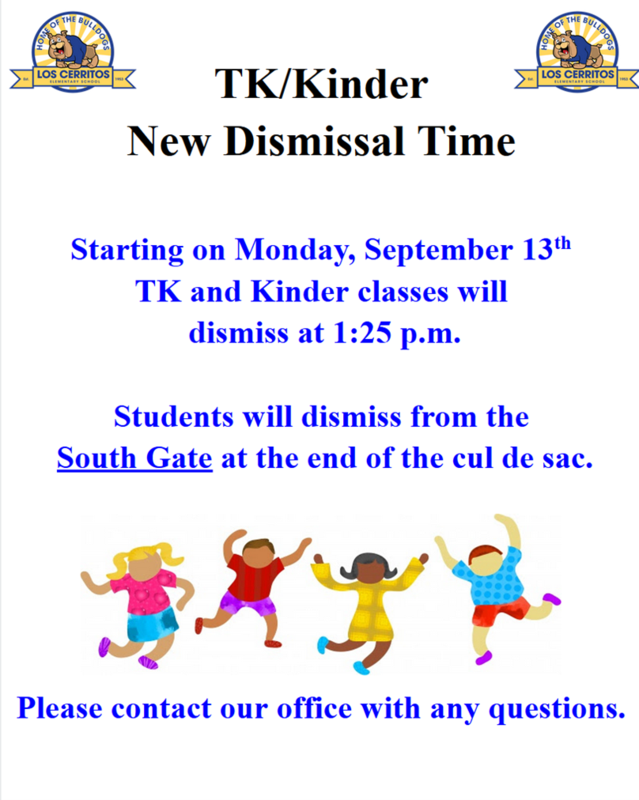 New Dismissal Time for TK/Kinder/ Nueva Hora de Salida para TK/Kinder Featured Photo