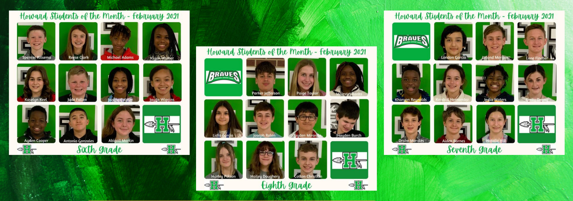 3 graphics with photos of students of the month