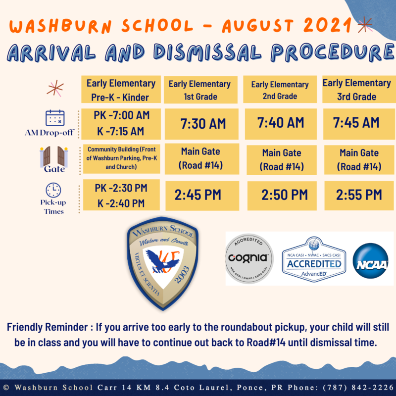 PICKUP AND DROP-OFF TIMES AT WASHBURN SCHOOL Featured Photo