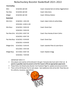 Booster Basketball Tryouts Fall 2021