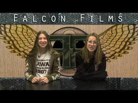 This is a screenshot of 2 Falcon Films students reading the morning announcements.