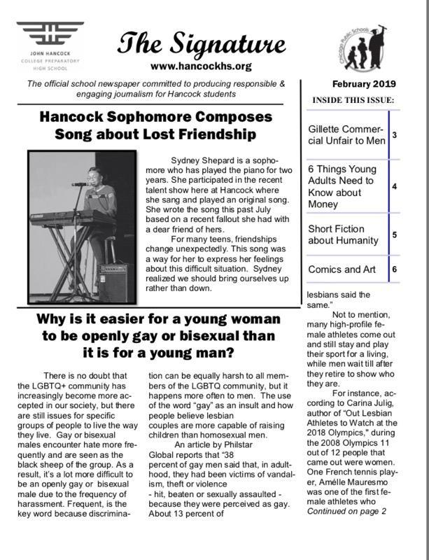 February Issue of the school newspaper