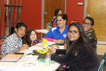 Students waiting for their next UIL events with Ms. Suzy Garza at one of the UIL meets.