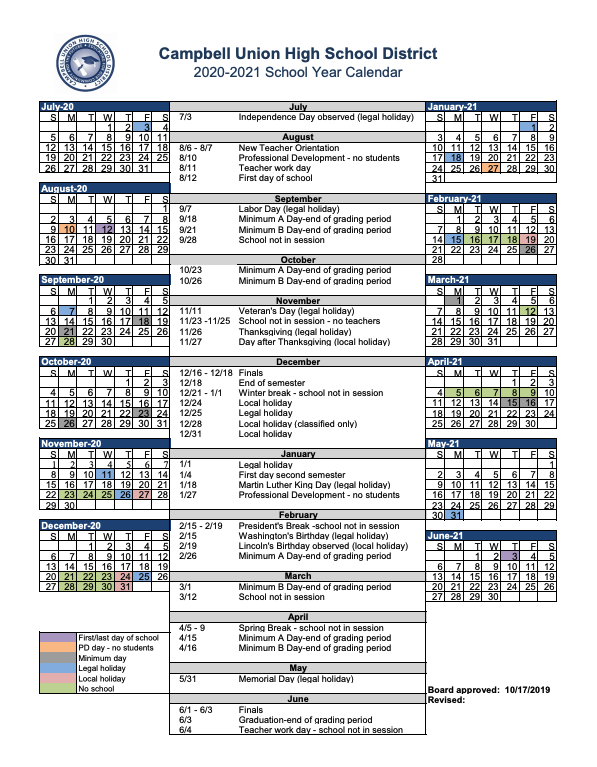 2020-2022 academic calendar