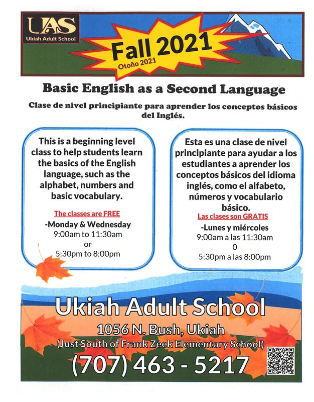 Free English as a Second Language (ESL) classes poster for Fall 2021
