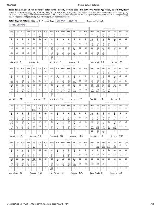 20-21 Public School Calendar