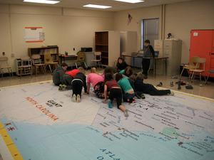 Students on the NC giant map.