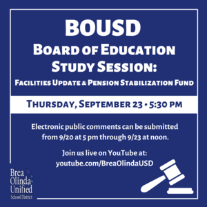 BOUSD Board of Education Study Session September 23