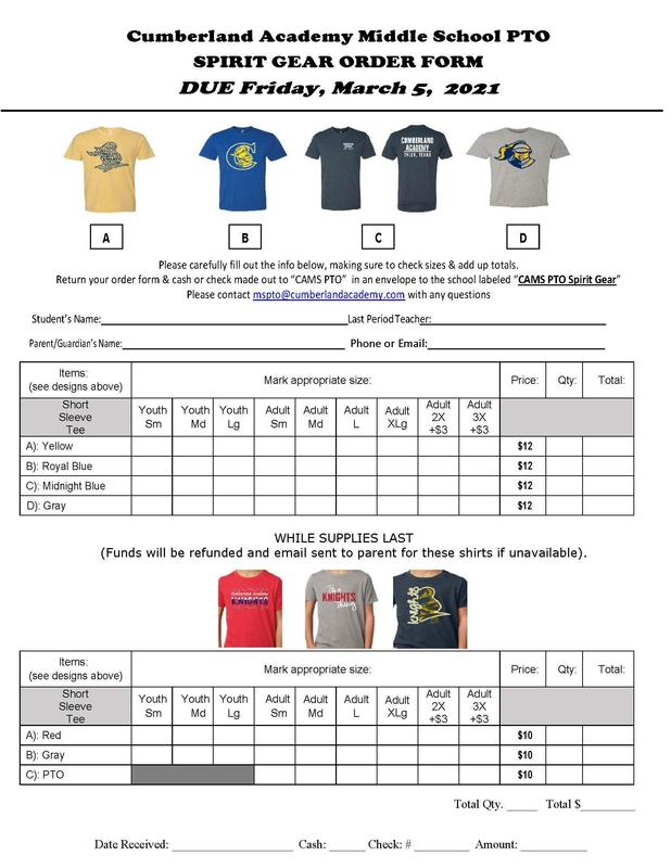 PTO Spirit Gear Order Due Featured Photo