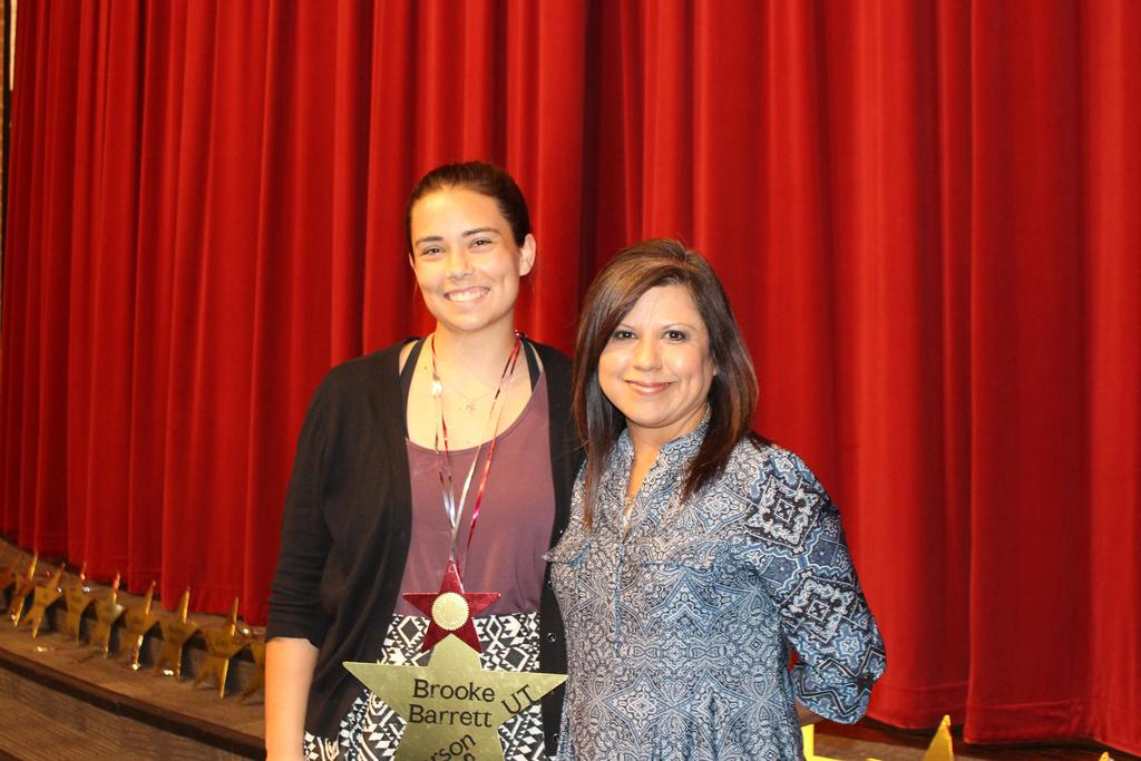 Texas Interscholastic League Foundation Scholarship Brooke Barrett with Shiela Parker, WHS UIL Academic Coordinator