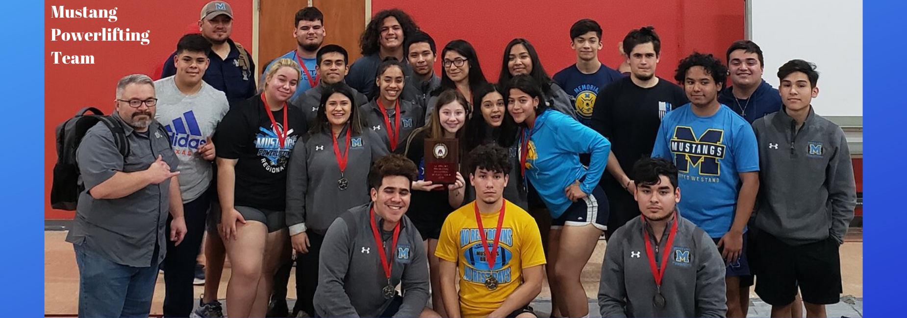 Mustang Powerlifting team with medals
