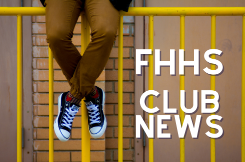 FHHS Club New. Student sitting on a yellow railing