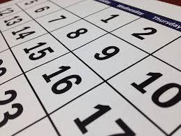 closeup of calendar numbers