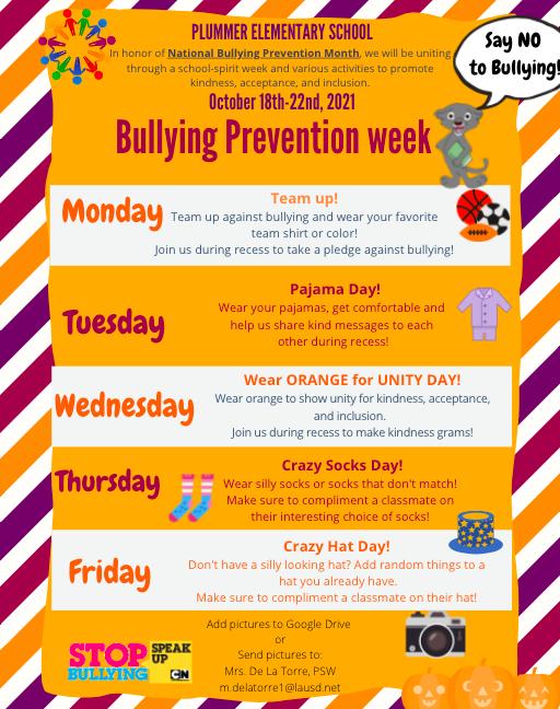 Bullying Prevention Week - Semana de Prevención de La Intimidación Featured Photo