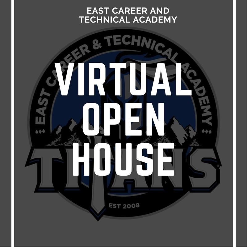 East Tech Logo with Virtual Open House written over it
