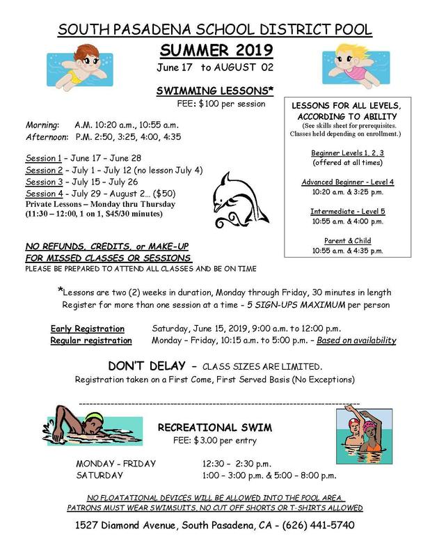 SPUSD Summer Swimming Schedule