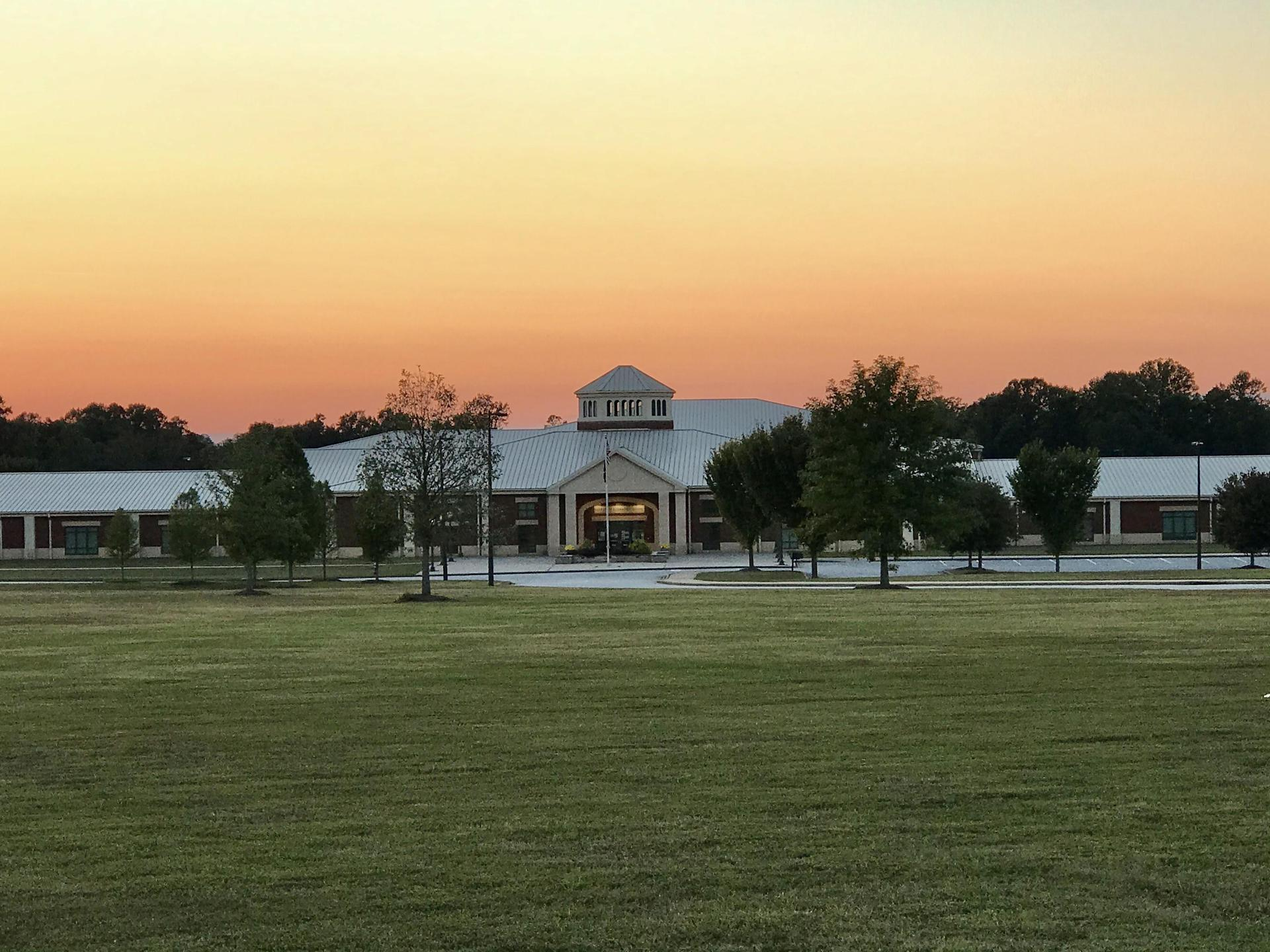 picture of school at sunset