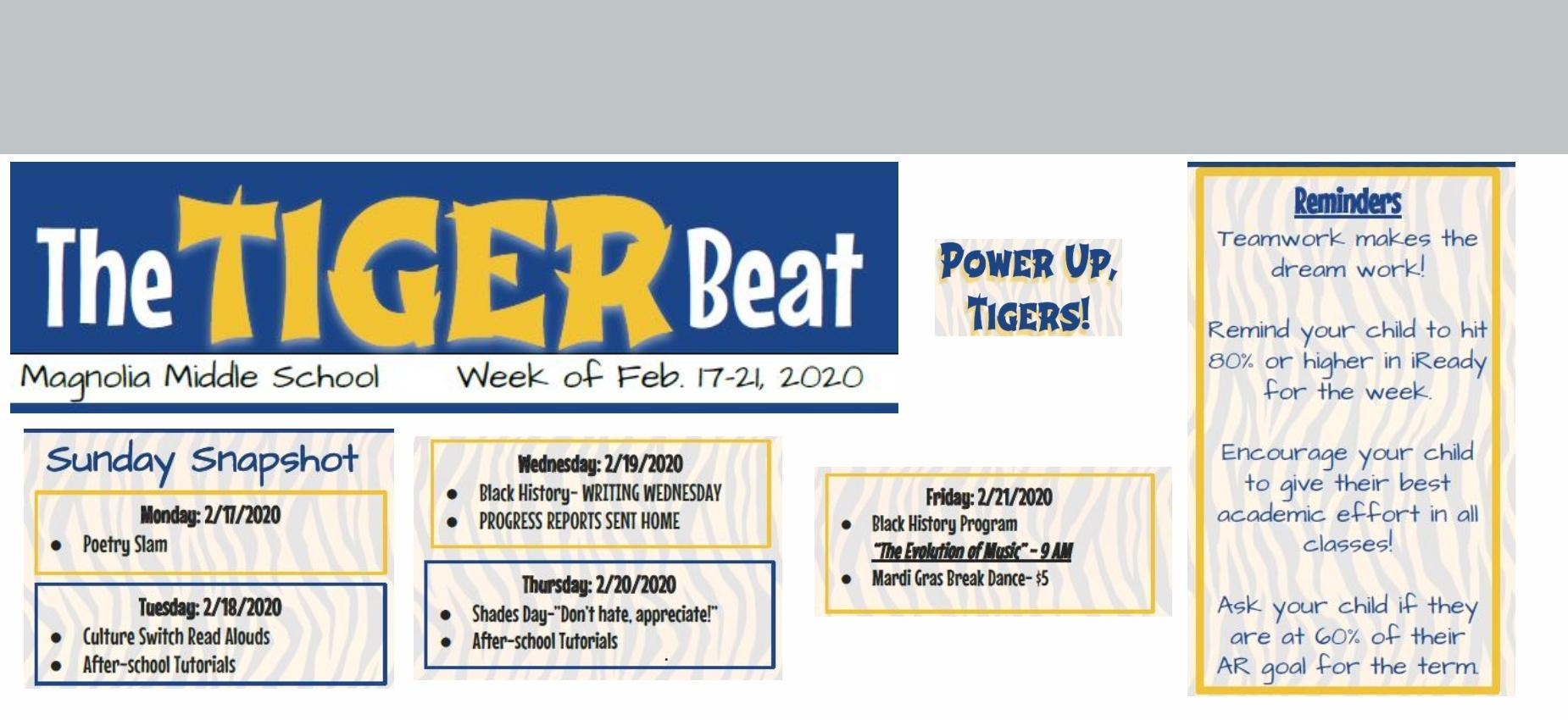 tiger beat Feb. 17-21