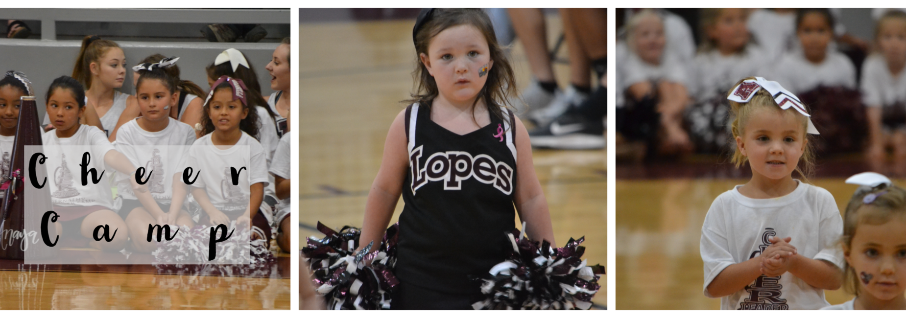 Young girls participate in cheer camp.