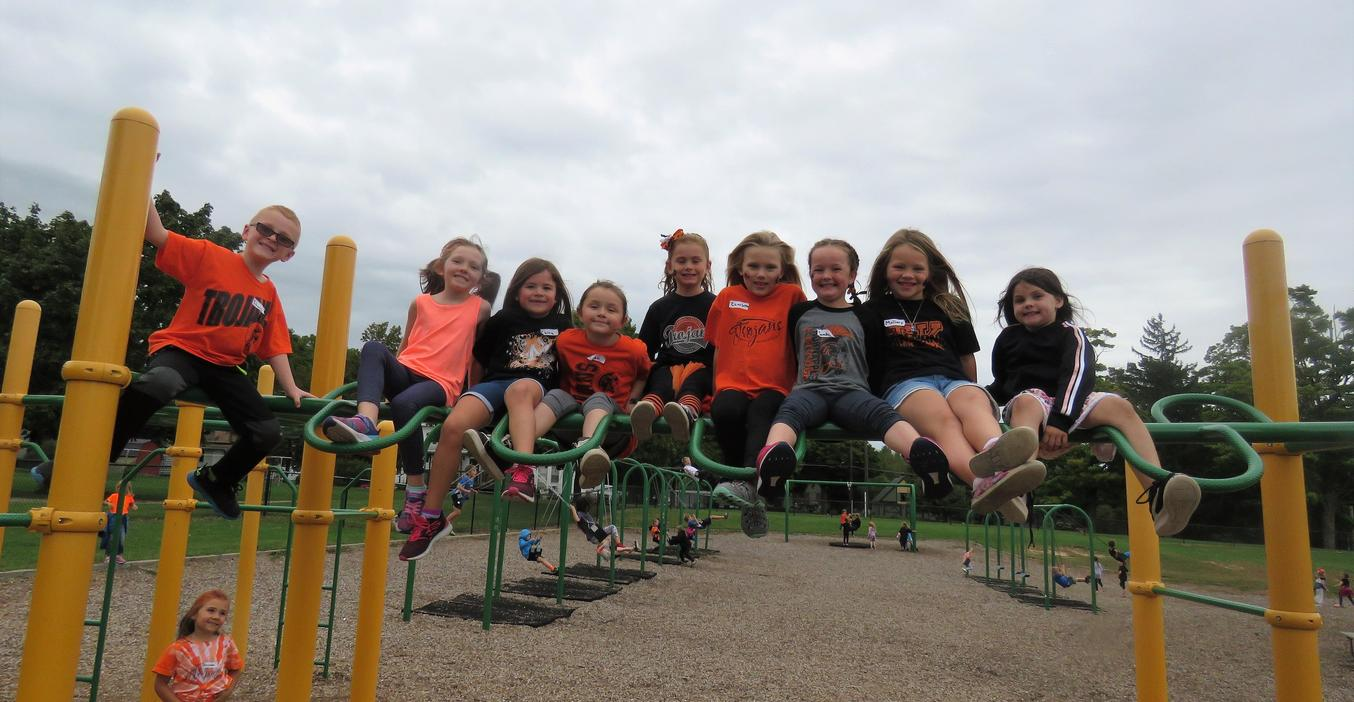 These students love climbing on the playground.