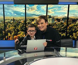 Cameron with KTVB news reporter