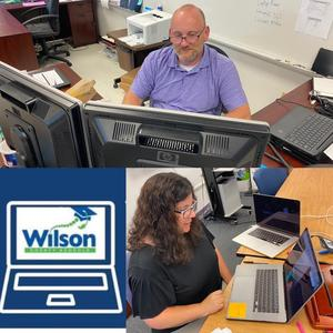 Instructional Technology Facilitator Natalie Mercer and Technician Timothy Morgan.