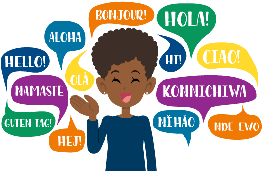 Person with multilingual speech bubbles