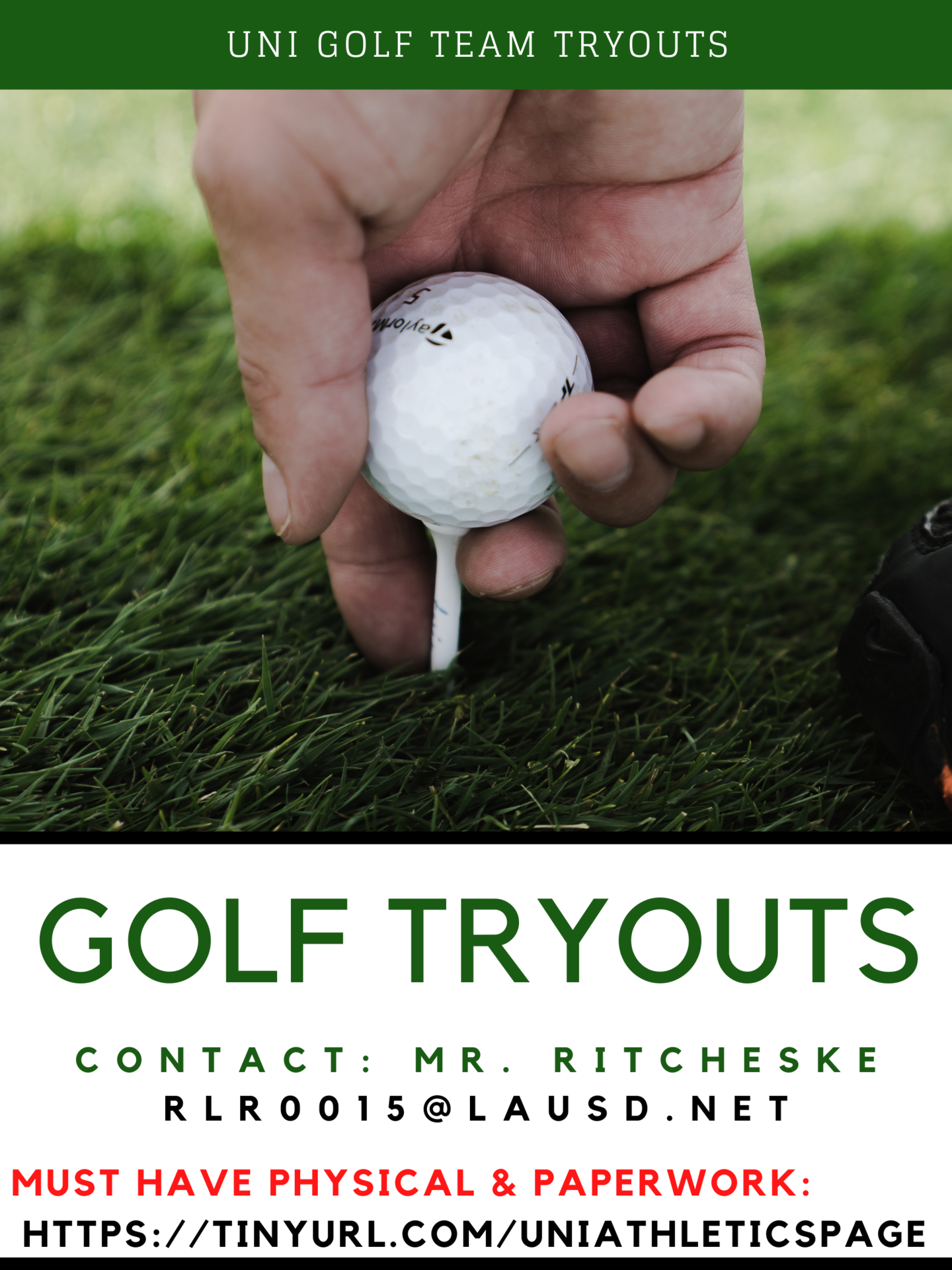 Golf tryouts 2021 fall