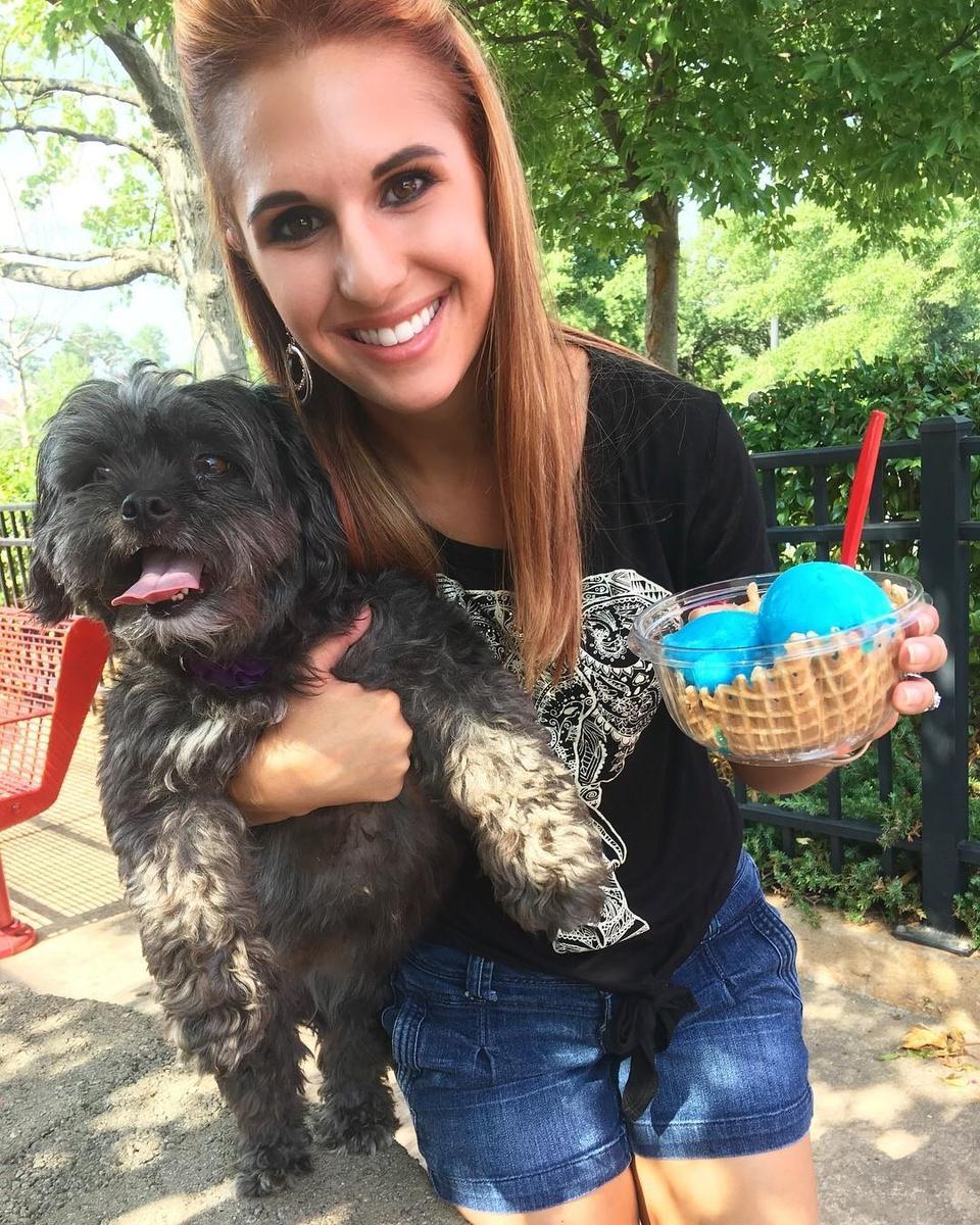 Lauren Carlson, dance teacher in Spartanburg with her dog