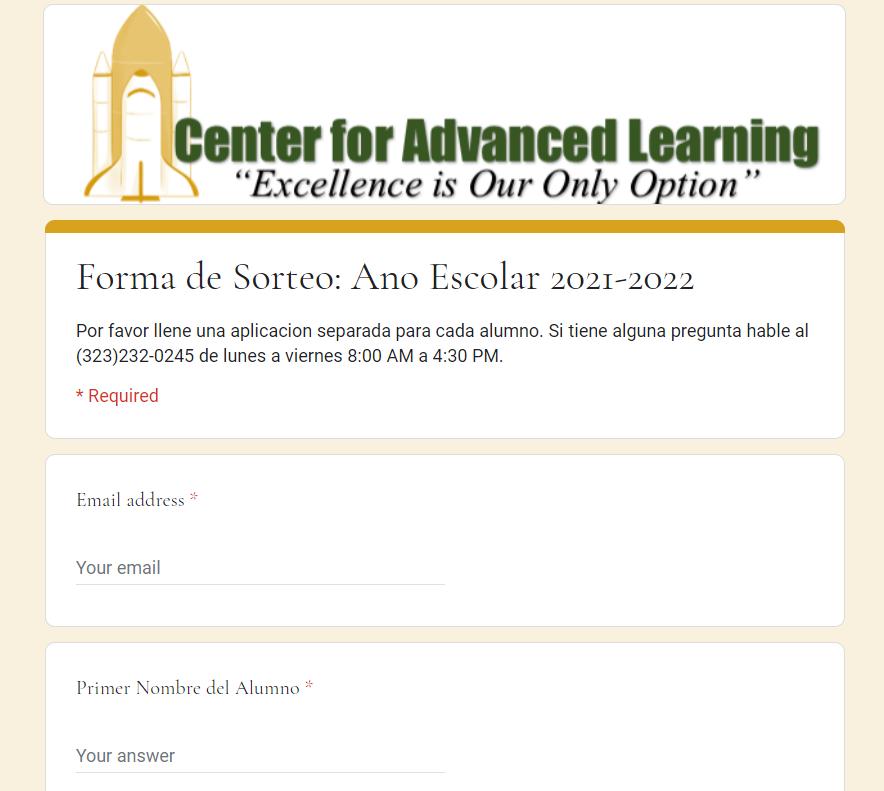 Forma de Sorteo: Ano Escolar 2021-2022