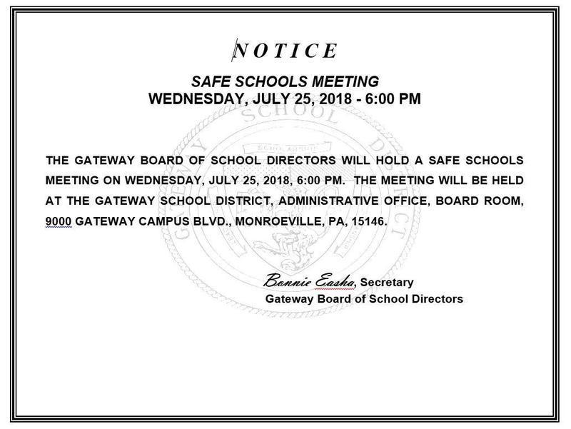 Notice of Safe Schools Meeting
