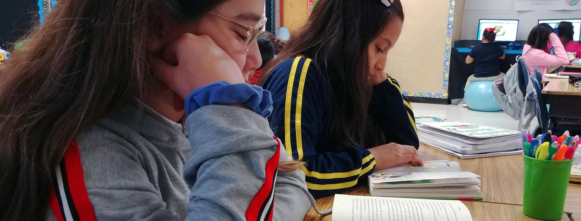 Two students read their books