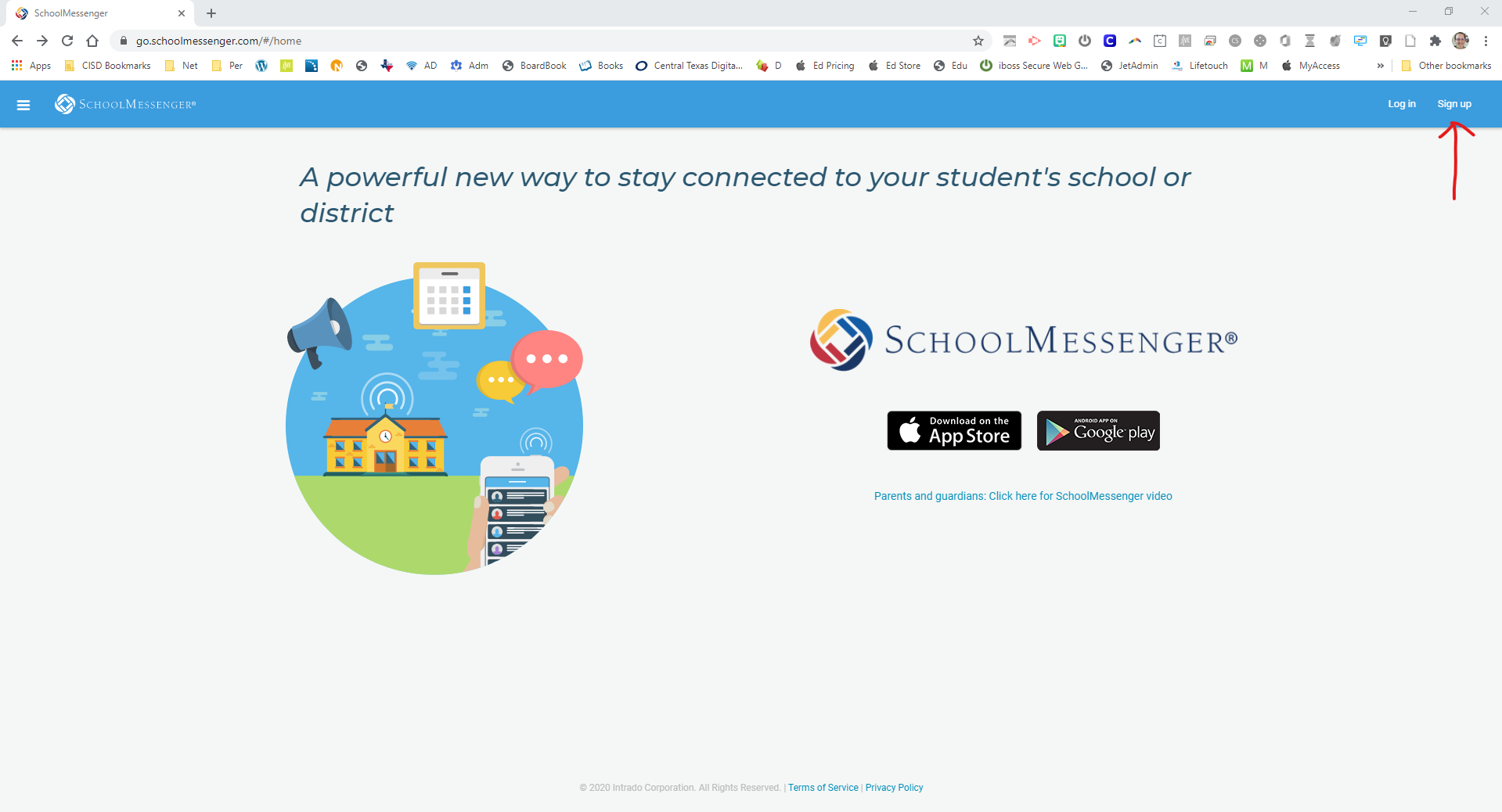 School Messenger Signup Screen