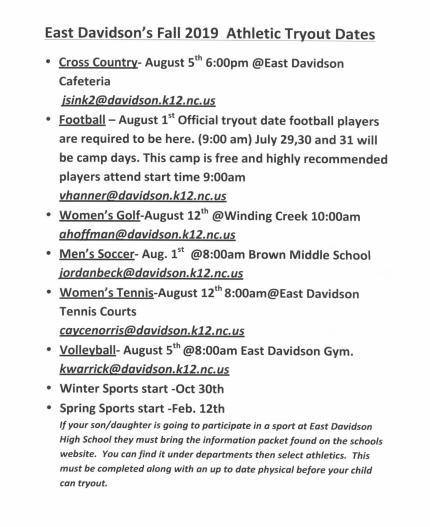 Fall Sports Tryouts 2019