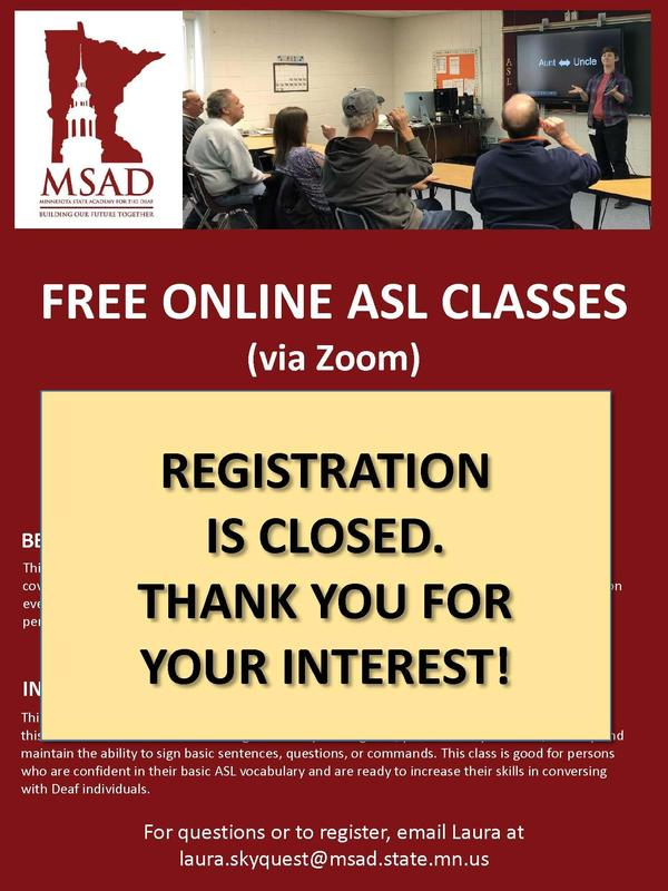 Free Online ASL Classes Summer 2018 Thumbnail Image