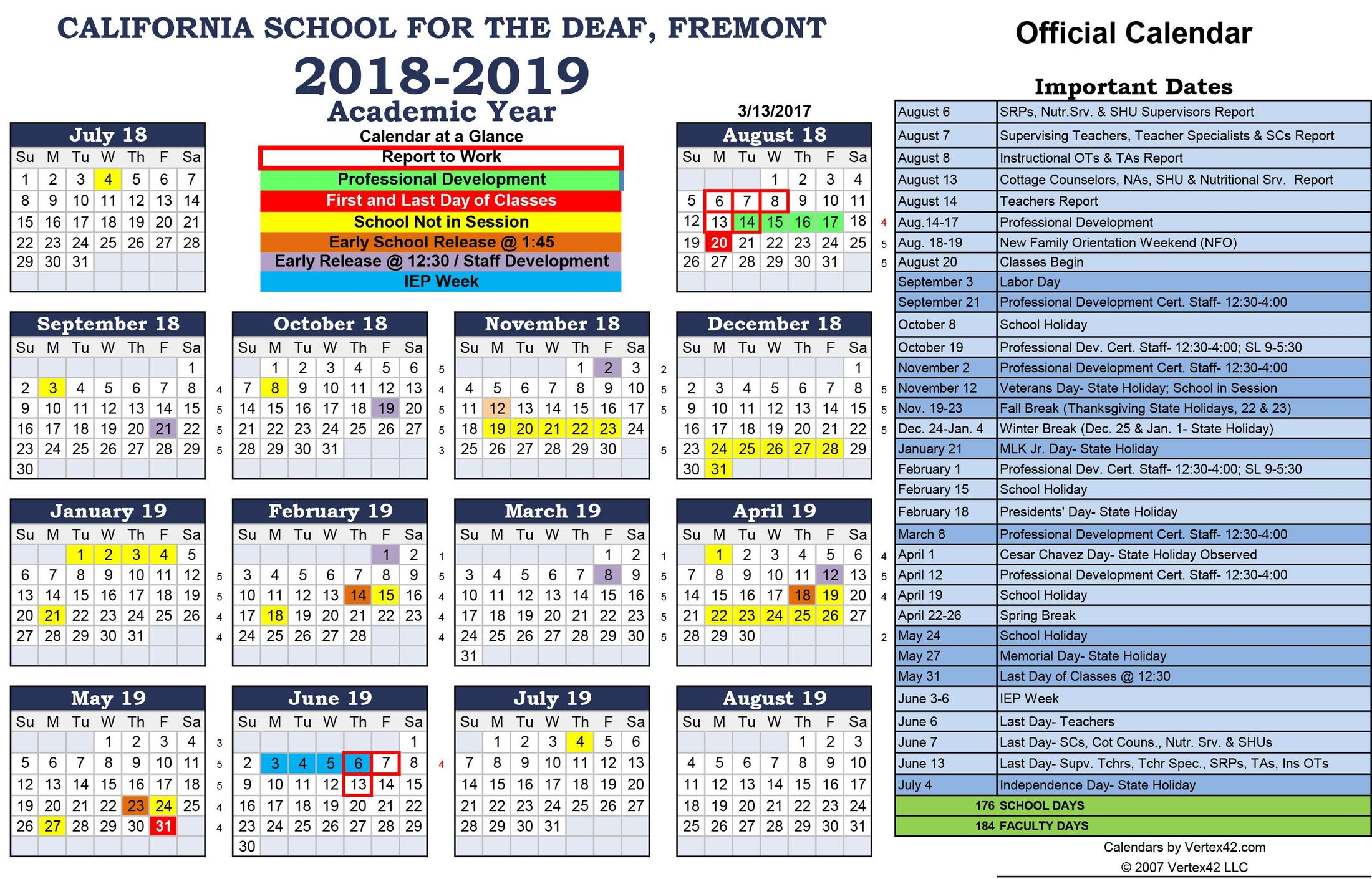 2018 2019 official csd academic calendar monthly