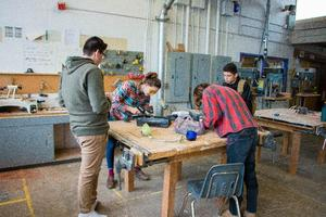 Students in the Makerspace class