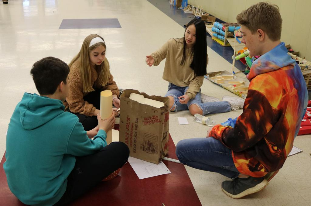 Photo of students working together on a Design Challenge during Science Olympiad at Roosevelt Intermediate Schools.