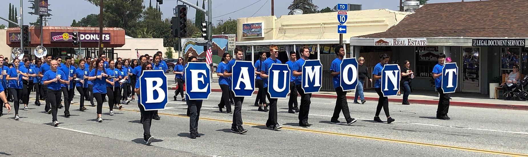 Beaumont High School Band Kicks Off Cherry Festival Parade