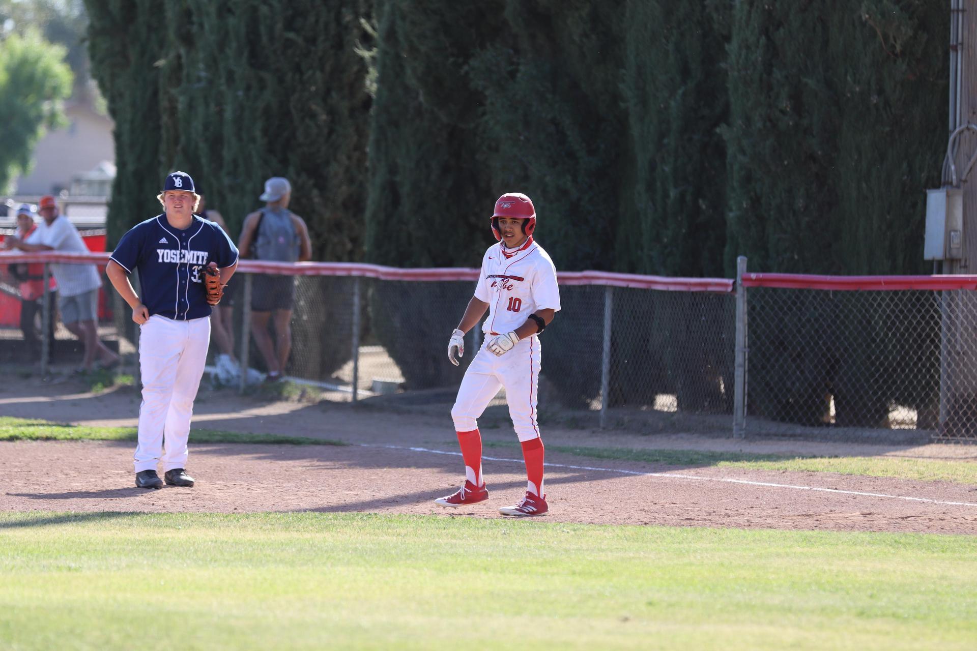 boys playing baseball against Yosemite