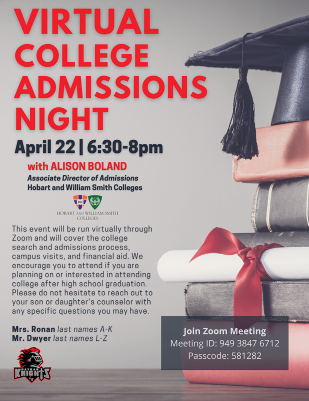 Virtual College Admissions Night Featured Photo