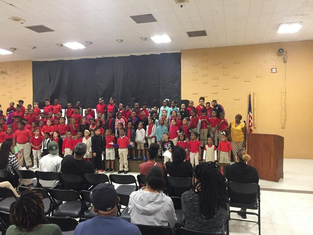 a photo of the K through 2nd grade singers at Bakerfield & Baker Heights Black History Program for 2019