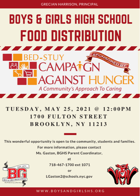 BGHS Food Distribution - Tuesday, May 25, 2021 - 12:00PM