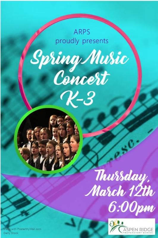 flyer for K-3 spring concert