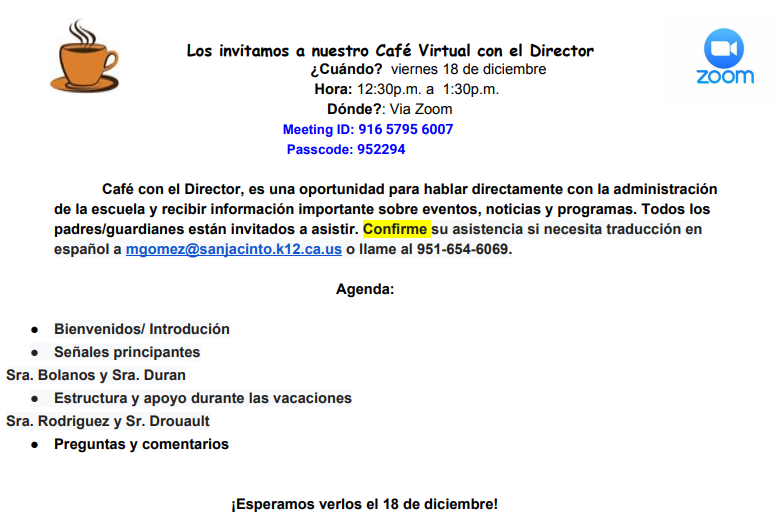 December 18 Coffee with the Principal in Spanish