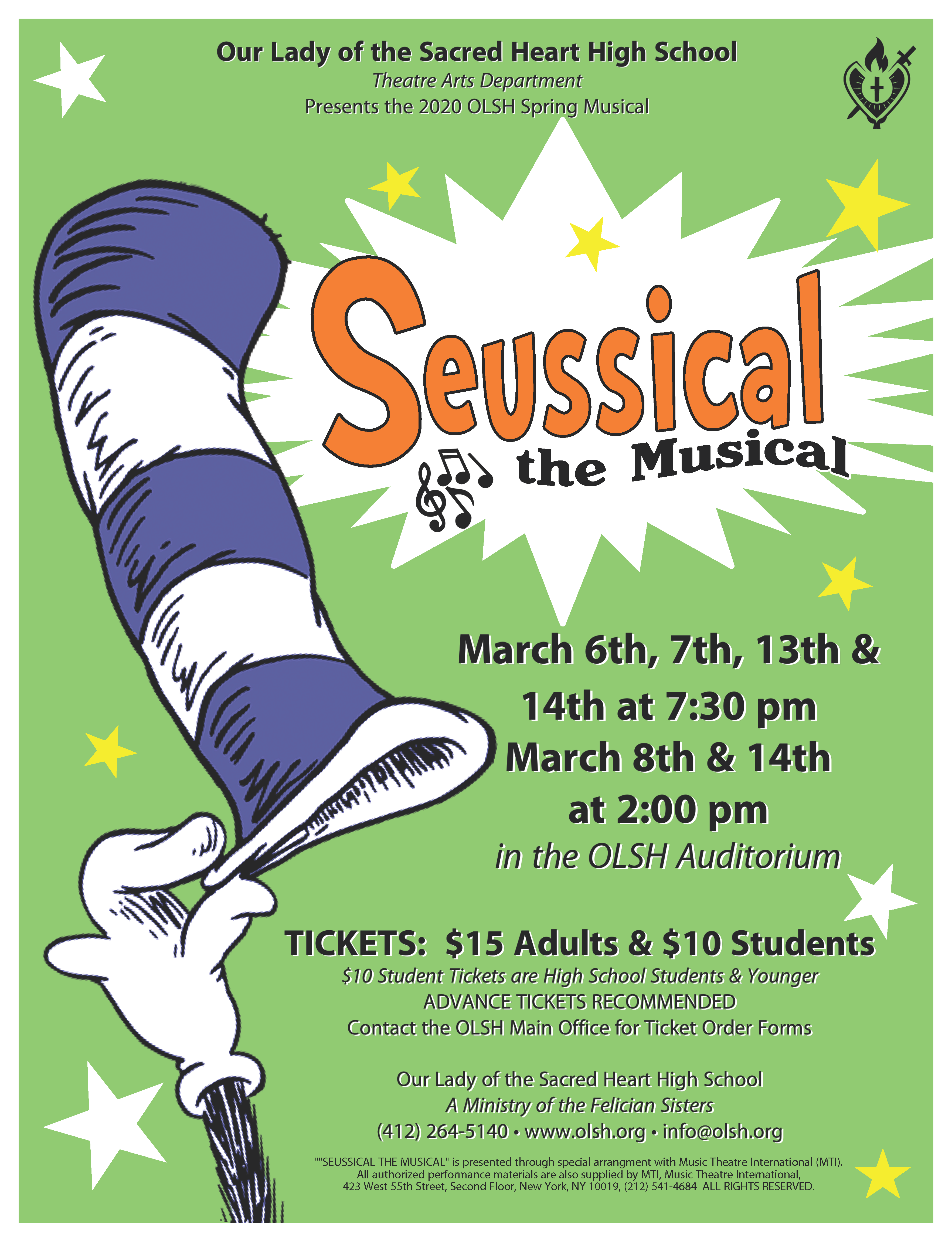 flyer for OLSH performance of Seussical